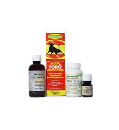 Immune System Support Bundle – EcuaMiel, VitaToro, Moringa, Lugol's 7%, and Defense Formula A