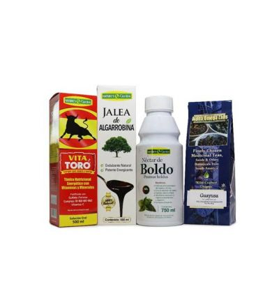 Fatigue Bundle – VitaToro, Algarrabina, Guayusa Tea, Nectar de Boldo.